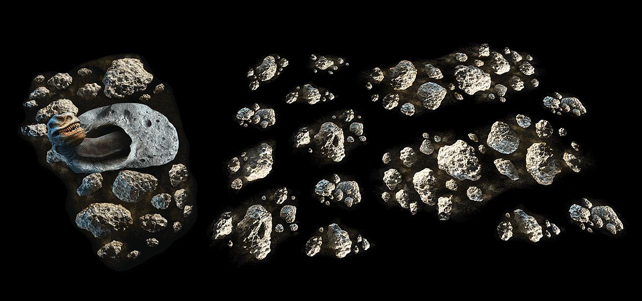Asteroiden und Wurm Space-Gelände